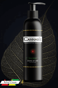 Cannabis Triangle broad spectrum premium CBD relief cream 200mg nature flavor giant leaf on red yellow and green triangles