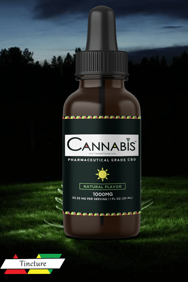 buy Cannabis Triangle broad spectrum premium CBD oil 1000 mg nature flavor forrest background and sky on red yellow and green triangles
